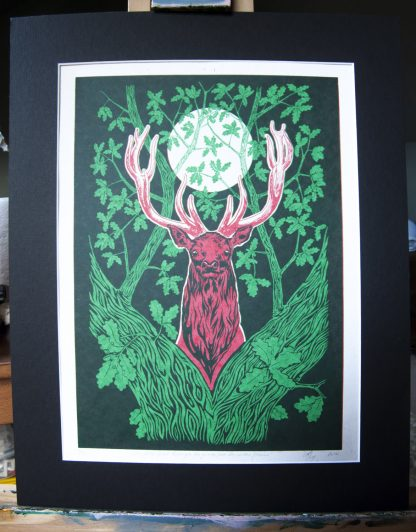 stag moon print