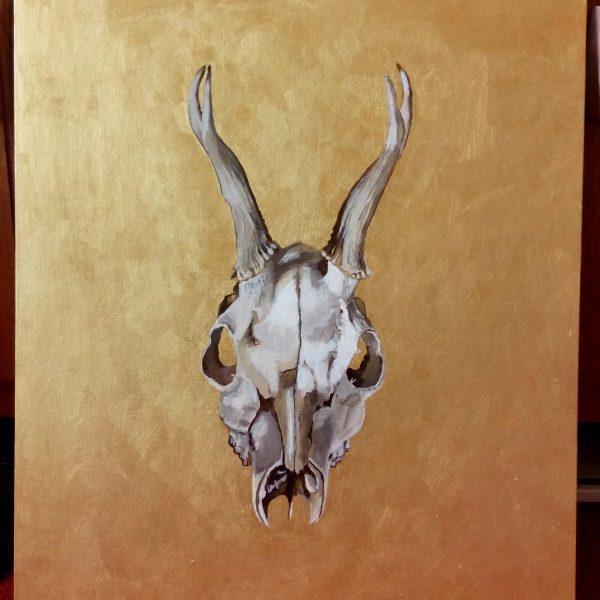 original painting, acrylics, skull, deer, roe, death, gold, painting