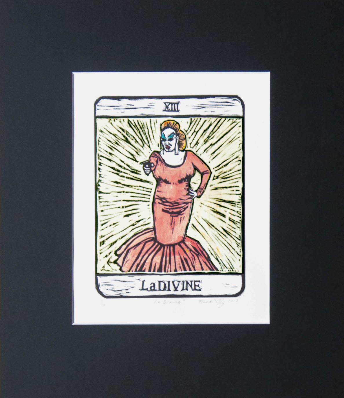 Divine Pink Flamingos tarot card linocut print