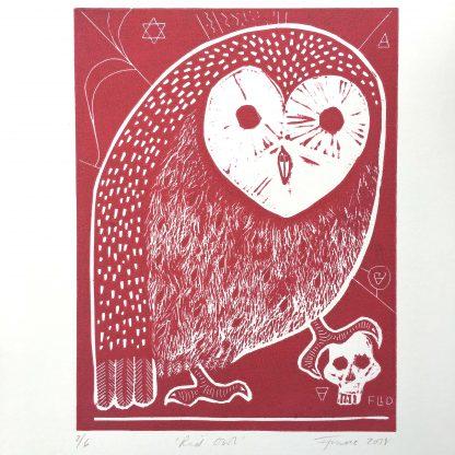 red owl lino art print with human skull and magic symbols