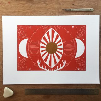 vesica piscis based red & gold lino print