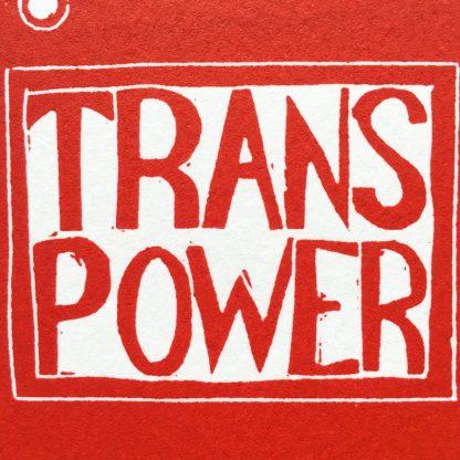 trans masculine art red lino print