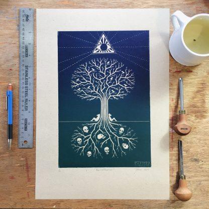 linoprint art print skull eye tree roots limited artist