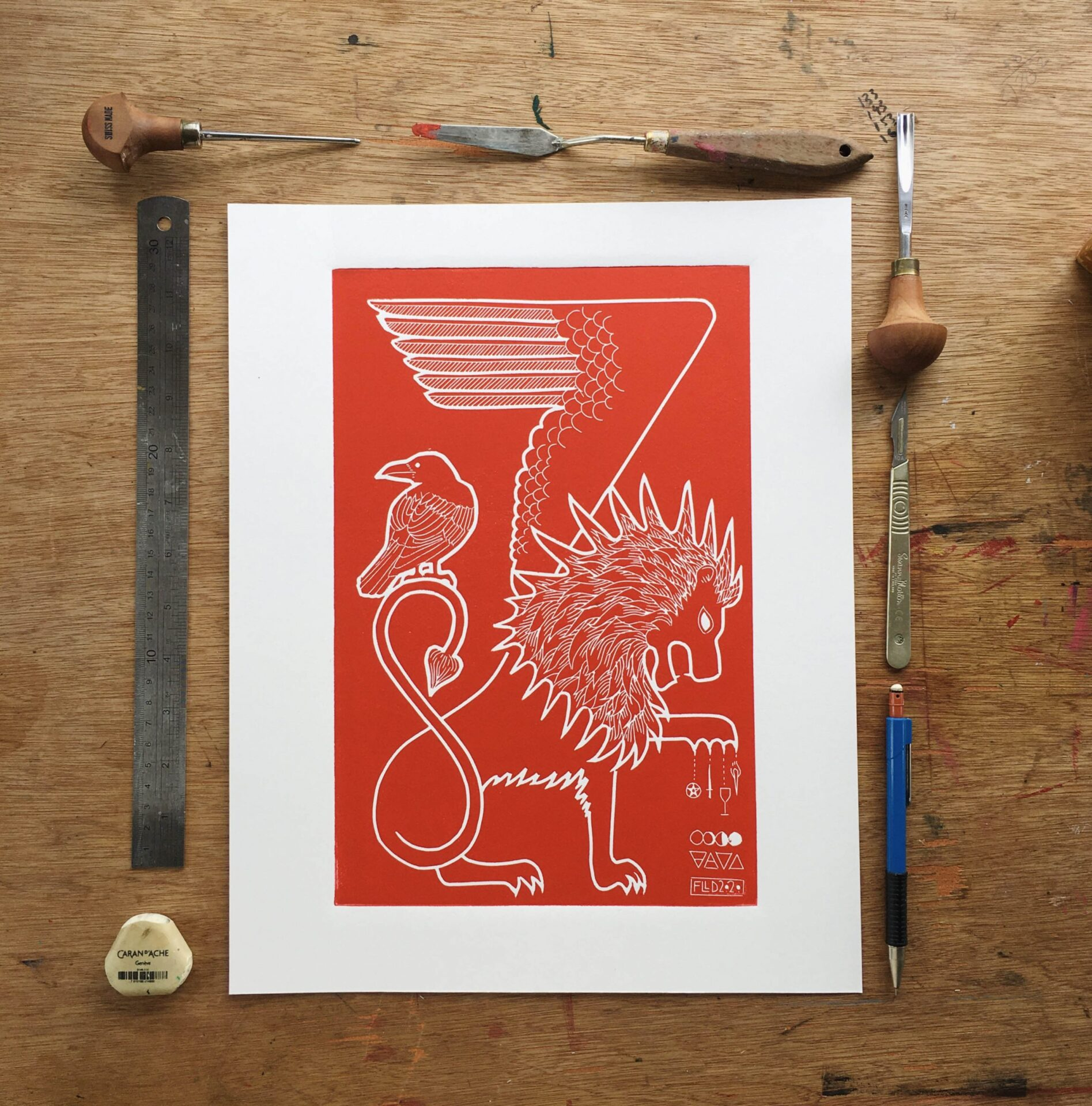 red lion raven original lino print art