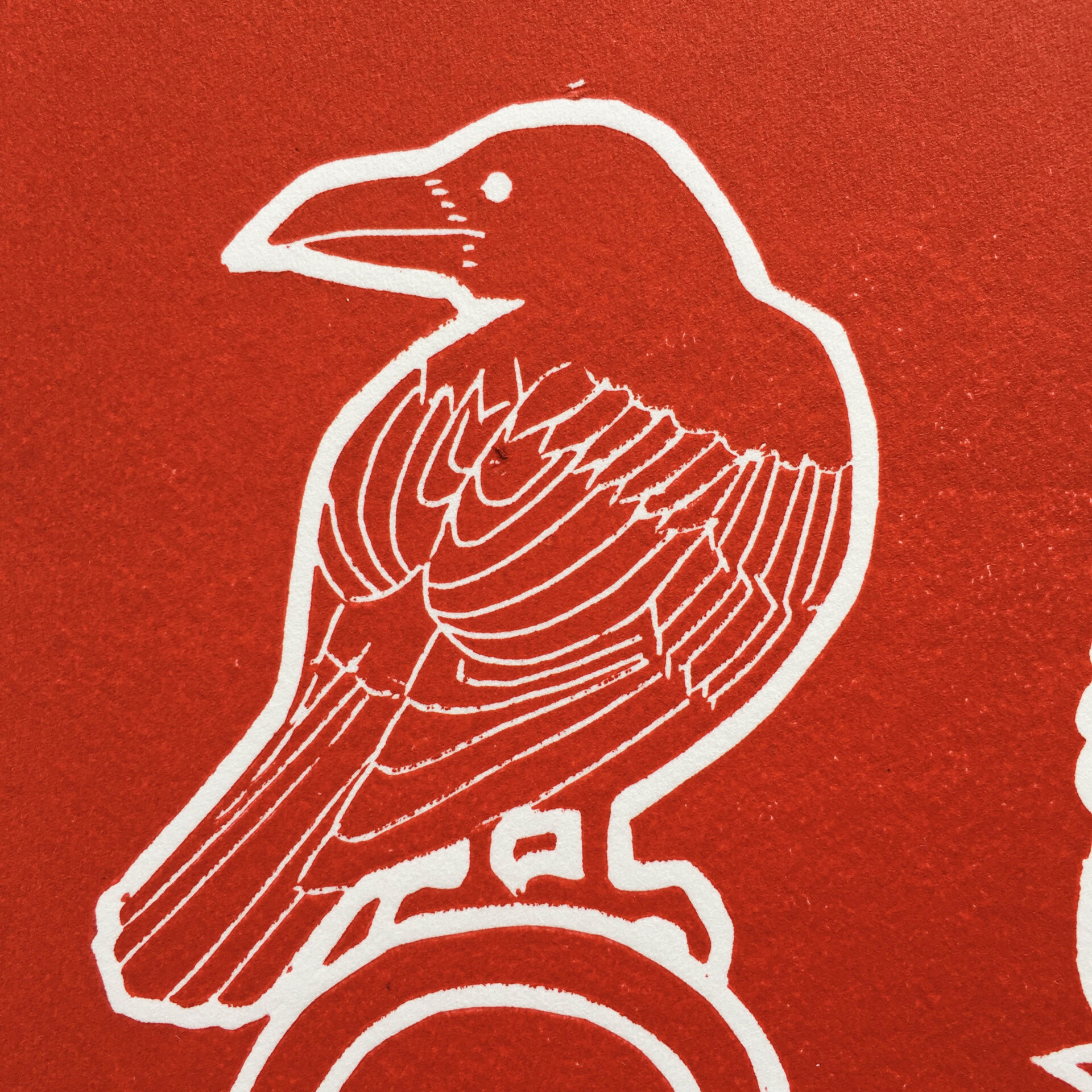 raven red lino print weird witch pagan art