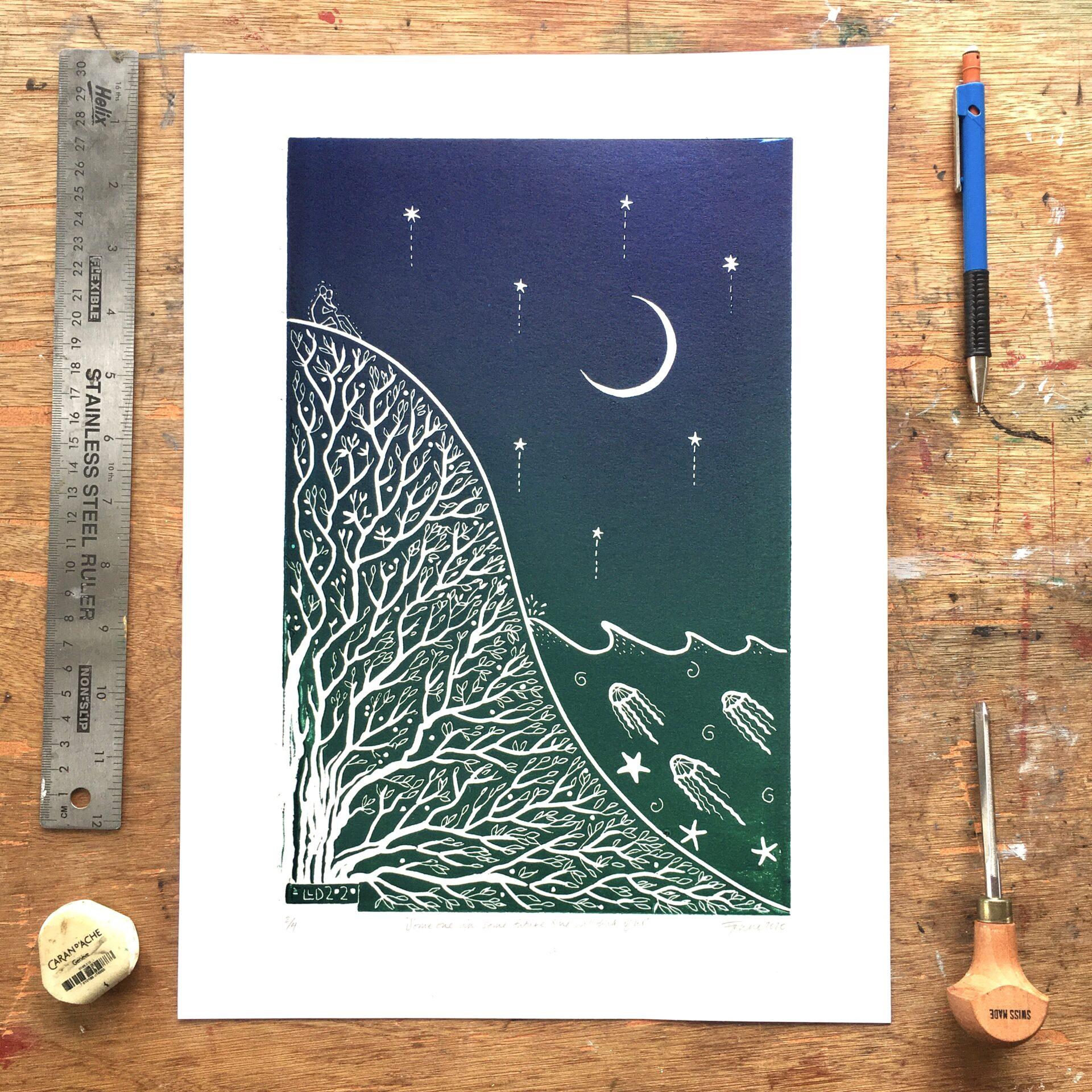 sappho sapphic linoprint queer printmaker blue green pthalo
