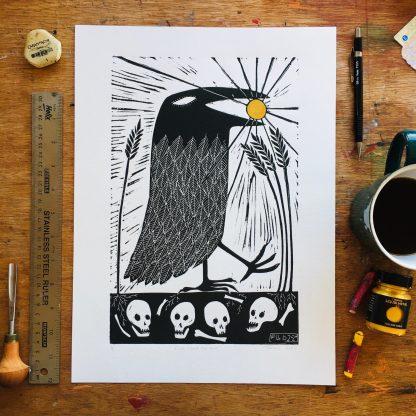 crow queer pagan art artist witch lino print linocut fine