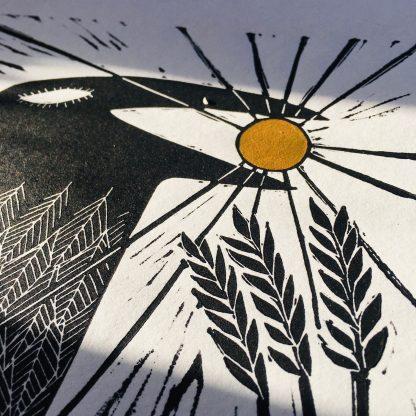 gold sun art crow linoprint uk