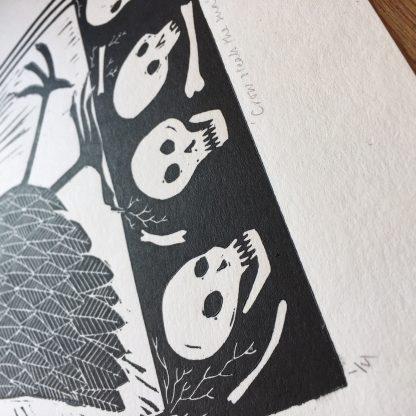 black skulls lino art welsh queer artist