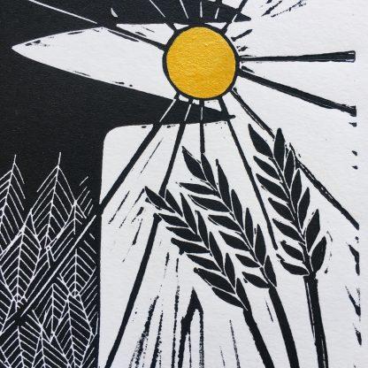 black gold linoprint original art printmaker wales uk