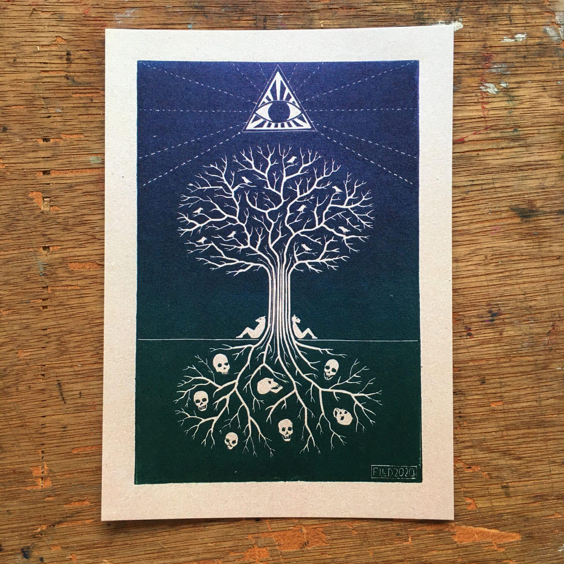 skulls tree all seeing eye pagan witch art