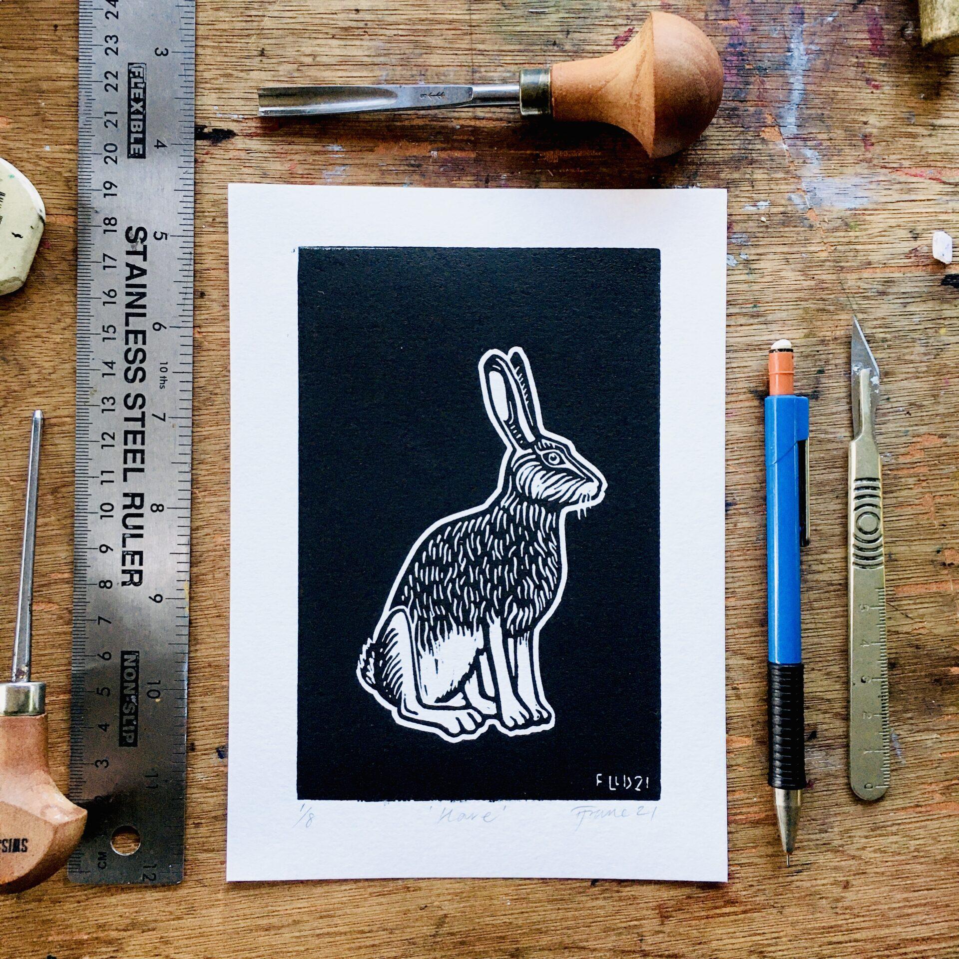 borwn hare lino print art witch black white