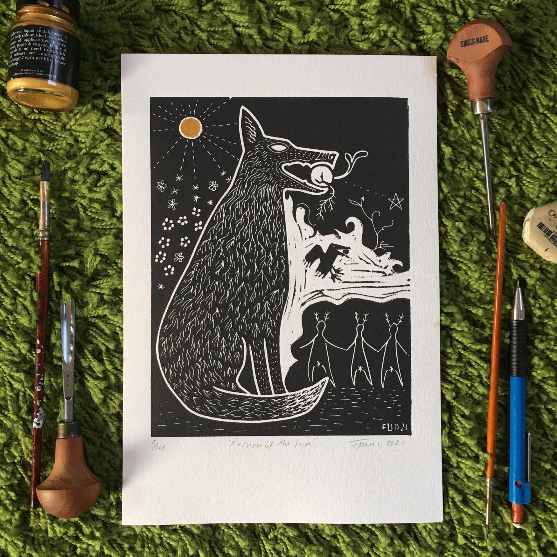 wolf sun pagan art print imbolc brigit bride fae black and white magic