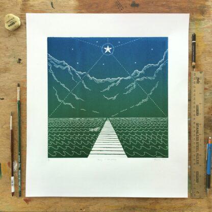 buddhist linoprint boat mountains star sea blue green fine art queer