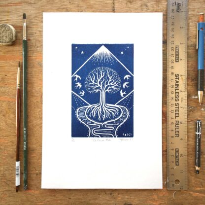 swallow linoprint calan mai beltane pagan original linoprint fine art