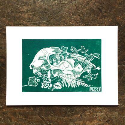 sheep skull foliage green linocut pagan witchy art