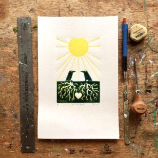 crows lino linoprint limited edition magic witchcraft welsh art artist carmarthen summer solstice