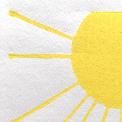 yellow sun reduction linoprint welsh artist printmaker wales