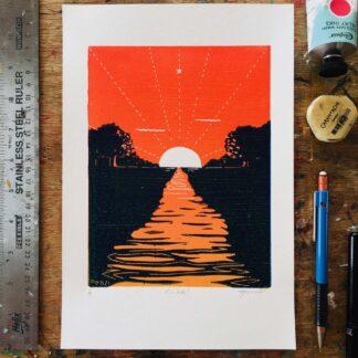 summer solstice dawn lino print welsh pagan artist printmaker orange